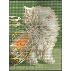 Royal Paris  Chaton  et  poisson  rouge  9886106-00059  kit  broderie  sur  canevas