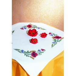 Royal Paris  kit  Nappe  Coquelicots  9886301-02716  à  broder  en  points  comptés