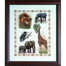 Royal Paris  Les  animaux  d'Afrique  9886443-00010  kit  broderie  au  point de croix  compté