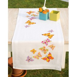 Vervaco  Chemin  de  table  Papillons  colorés  0146936  Broderie  Point de croix imprimé