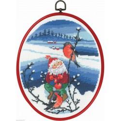 Permin  Père Noel  et  rouge-gorge  12-0526