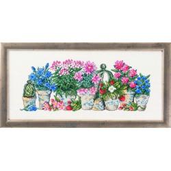 Permin  Vases  de  Fleurs  bleues  et  Roses  12-5185
