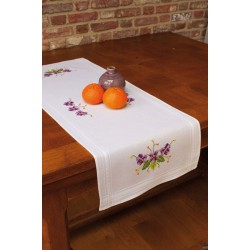 Vervaco 0013222  Chemin de table  Violettes  Broderie  Point de croix imprimé
