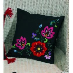 Permin  Coussin  Fleurs  sur  fond  noir  83-2960