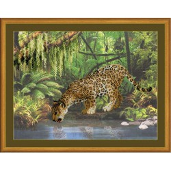 Riolis  kit Leopard Near the Water | Riolis  PT0023 | Broderie du monde