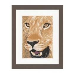 Lion en gros plan  0008192 Lanarte  Broderie  Point de croix compté  Etamine