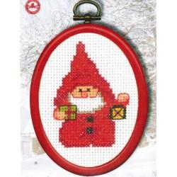 Cadre  tambour  Père  Noël  et  lanterne  13-8224  Permin