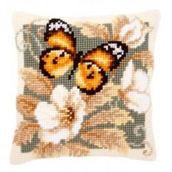 Coussin  Papillon  noir  et  orange  0146840  Vervaco
