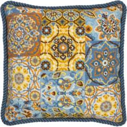 Coussin  Motifs  sur  bleu  71-20081  Dimensions