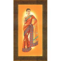 Femme  indienne  dans  un  sari  orange  0145758  Lanarte  Étamine