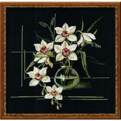Orchidée  blanche  941  Riolis  Broderie  Point de croix compté