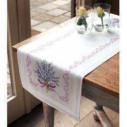 Vervaco 0013257  Chemin de table imprimée  Lavande  Point de croix imprimée