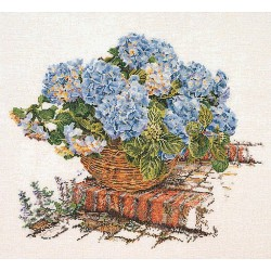 Panier  d'hortensias  bleus  2046  Lin  Thea Gouverneur