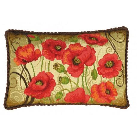 Riolis  kit Oriental poppies Cushion | Riolis  1433 | Broderie du monde