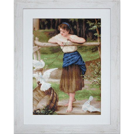 La  fille  jouant  avec  des  pigeons  B516  Luca-S
