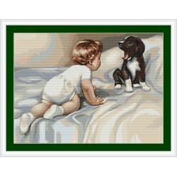 Bébé   avec  son  chien  B374  Luca-S