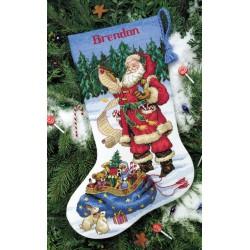 Chaussette  Père  Noël  examinant  sa  liste  8645  Dimensions