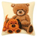 Coussin  Ourson  Popcorn  et  Biscuit  0011091  Vervaco