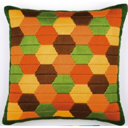Coussin  Point  lancé  Bargello  hexagones  0010869  Vervaco