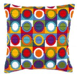 Coussin  Point  lancé  Cercles  multicolores  0021380  Vervaco