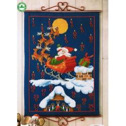 Calendrier  de  l'Avent  Père  Noël  et  traîneau  34-1214  Permin