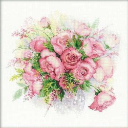 Kit point compté  Aquarelle de roses 1335  Riolis