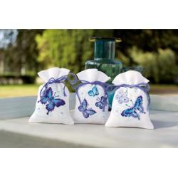 3  Sachets  senteur  papillons  bleus  0146430  Vervaco  5413480439256