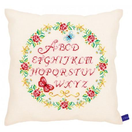 Coussin  Alphabet  avec  des  roses  0153869  Vervaco  5413480439270