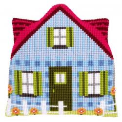 Coussin  Maison  bleue  0147191  Vervaco