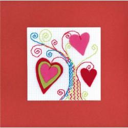 Riolis  kit Carte Arbre de coeurs | Riolis 1420AC | Broderie du monde