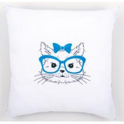 Kit  coussin  Chat  avec  des  lunettes  bleues  0155965  Vervaco