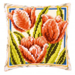 Vervaco  kit  Coussin au point de croix Tulipes | Vervaco  0001125 | Broderie du monde