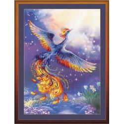 Riolis 0034PT  Oiseau du bonheur   Broderie  Point de croix compté  fond imprimé