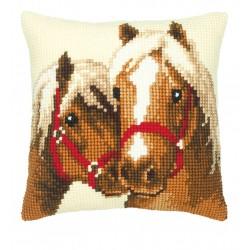 Vervaco  kit  Coussin au point de croix chevaux | Vervaco  0008505 | Broderie du monde