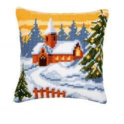 Vervaco  kit  Coussin au point de croix  paysage de Noël | Vervaco  0008516 | Broderie du monde