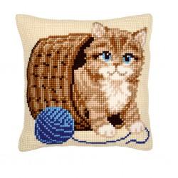 Vervaco  kit  Coussin  au  point de croix  chaton et pelote de laine | Vervaco  0008534 | Broderie du monde