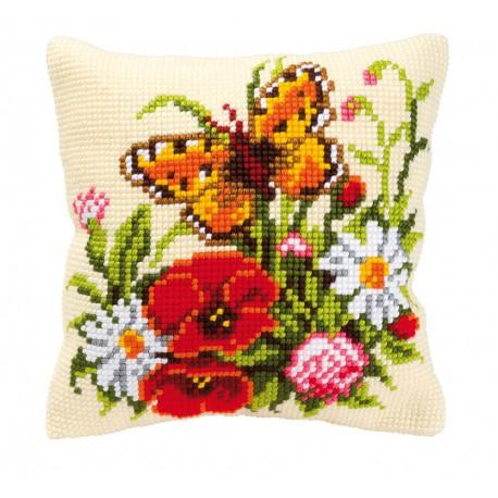 Vervaco  kit  Coussin  au  point de croix  bouquet de fleurs et papillon   Vervaco  0008548   Broderie du monde