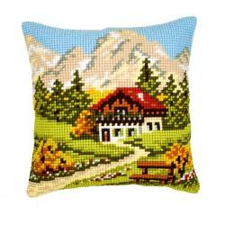 Vervaco | kit  Coussin  au  point de croix   village de montagne | Vervaco  0008600 | Broderie du monde
