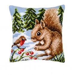 Vervaco | kit  Coussin au point de croix  écureuil et rouge-gorge | Vervaco  0008667 | Broderie du monde