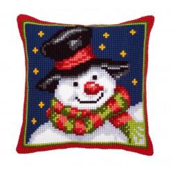 Vervaco | kit  Coussin au point de croix  bonhomme de neige | Vervaco  0008727 | Broderie du monde