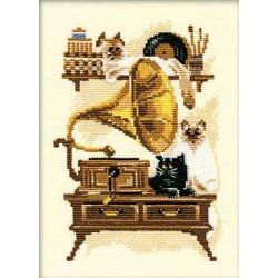 Riolis  kit Chat avec Gramophone | Riolis 859 | Broderie du monde