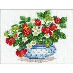 Riolis  kit Basket of Strawberries | Riolis 870 | Broderie du monde