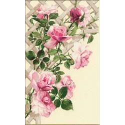 Riolis  kit Pink Roses on Lattice | Riolis 898 | Broderie du monde