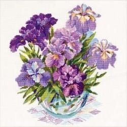 Riolis  kit Irises in Vase   Riolis 1071   Broderie du monde