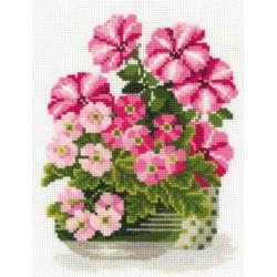 Riolis  kit Petunias & Primroses | Riolis 1115 | Broderie du monde