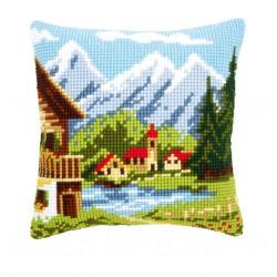 Vervaco | kit  Coussin  au  point de croix  village de montagne | Vervaco  0009079 | Broderie du monde