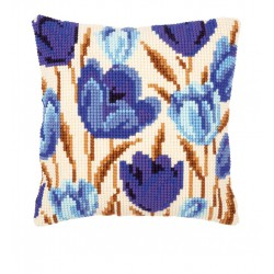 Vervaco | kit  Coussin  au  point de croix  Tulipes bleues | Vervaco  0021764 | Broderie du monde