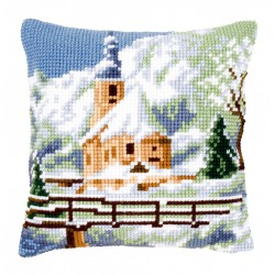 Vervaco | kit  Coussin  au  point de croix  Église sous la neige | Vervaco  0021806 | Broderie du monde