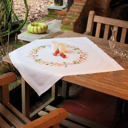 Vervaco | kit  Nappe imprimée  Roses | Vervaco  0013193 | Broderie du monde