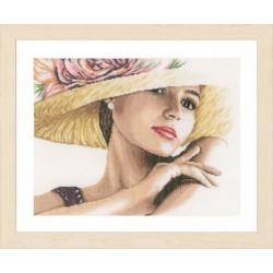 Lanarte 0168602  Femme avec chapeau  Broderie  Point de croix compté  étamine